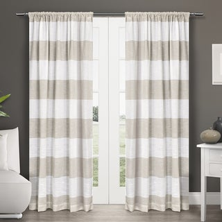 ATI Home Darma Semi-Sheer Stripe Linen Blend Curtain Panel (Pair)