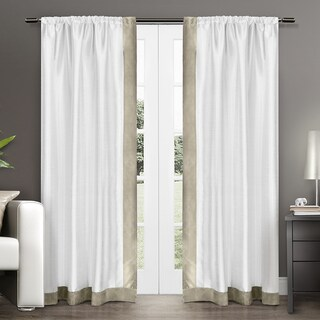 ATI Home Grammercy Bordered Faux Silk Rod Pocket Curtain Panel Pair