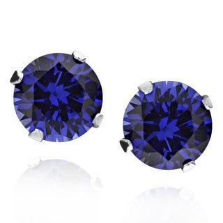 Sterling Silver Round Created Blue Sapphire Stud Earrings (China)