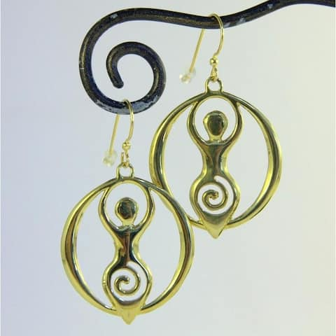 Handmade Yellow Brass Goddess Earrings by Spirit (Indonesia)