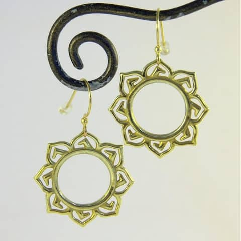 Handmade Brass Lotus Flower Earrings by Spirit (Indonesia)