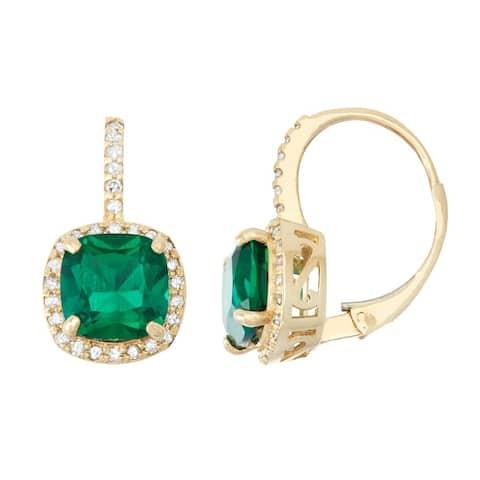 Gioelli 10k Gold Created Emerald 1/3ct TDW Diamond Cushion-cut Leverback Earrings (H-I, I1-I2)