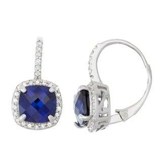 Gioelli 10k White Gold Created Sapphire 1/3ct TDW Diamond Cushion-cut Leverback Earrings (H-I,