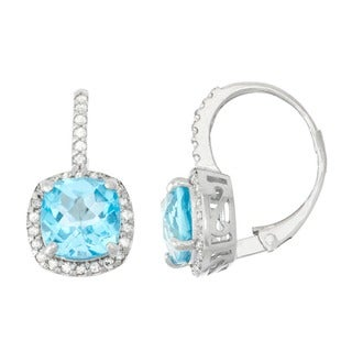 Gioelli 10k White Gold Swiss Blue Topaz 1/3ct TDW Diamond Cushion-cut Leverback Earrings (H-I,