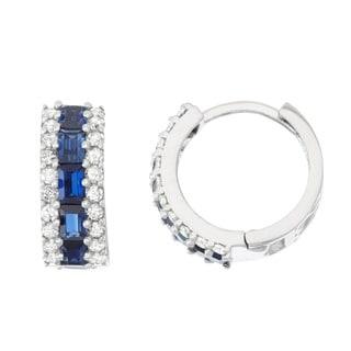 Gioelli 10k White Gold Created Sapphire 1/2ct TDW Diamond Pave Hoop Earrings (H-I, I1-I2)