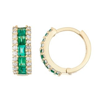 Gioelli 10k Gold Created Emerald 1/2ct TDW Diamond Pave Hoop Earrings (H-I, I1-I2)