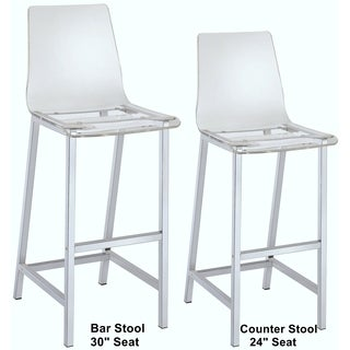 Melaney Art Deco Sleek Design Clear Acrylic Counter Height Stools (Set of 2)