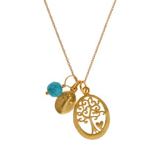 Love Tree Of Life Cross Matt Gold Over .925 Silver Necklace (Thailand)
