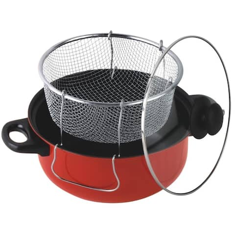 Gourmet Chef 6.5 Quart Non Stick Deep Fryer with Frying Basket and Glass Cover