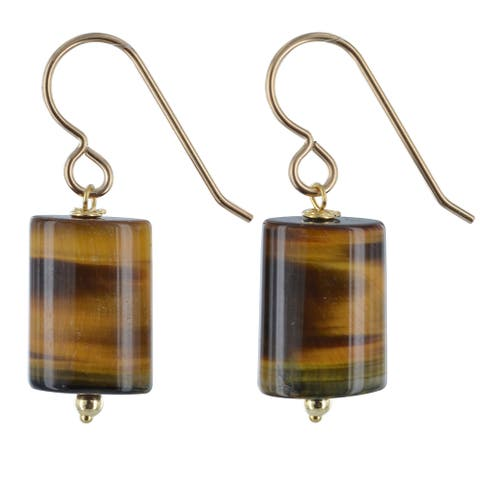 Tigers Eye Gemstone 14k GF Handmade Gold Earrings