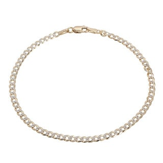 Pori Italian 18k Gold Cuban Pave Diamond-cut Chain Bracelet