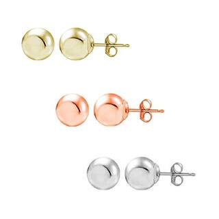 Pori 14k Yellow White and Rose Gold 4 mm Ball Stud Earrings (Set of 3)