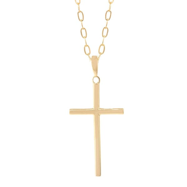 0cffe7f0480d55 Shop Pori 14k Gold Cross Necklace - Free Shipping Today - Overstock -  10883338
