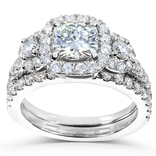 Annello by Kobelli 14k White Gold Forever One Cushion Moissanite and 1ct TDW Diamond Bridal Set