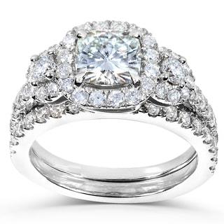Annello 14k White Gold Forever One Cushion Moissanite and 1ct TDW Diamond Bridal Set (G-H, I1-I2)