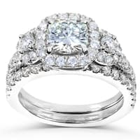 Annello by Kobelli 14k White Gold 2 1/6ct TGW Forever One DEF Moissanite and Diamond 2-Piece Unique Bridal Rings Set
