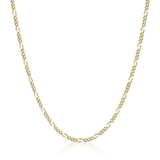 Pori 18k Gold Italian Figaro Chain Necklace