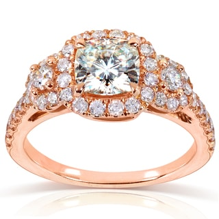 Annello by Kobelli 14k Rose Gold Forever One Cushion Moissanite and 3/4ct TDW Diamond Engagement Rin