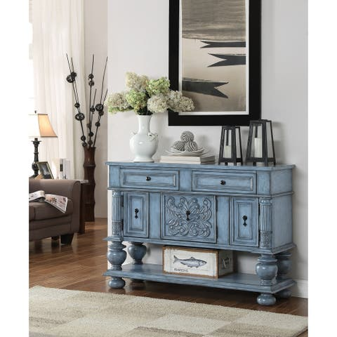 """Somette Ornate Three Door Two Drawer Burnished Blue Sideboard - 49""""W x 16.5""""L x 36.5""""H"""