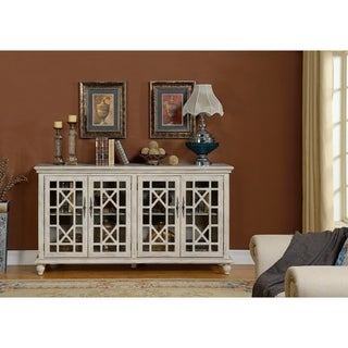 Somette 4-Door Textured Ivory Media Credenza