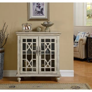 """Somette Two Door Textured Ivory Cabinet - 36""""L x 18""""W x 39""""H"""