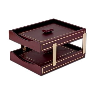 Burgundy 24k Gold Tooled Double Letter Trays with Lids