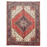 Hand-knotted Wool Red Traditional Oriental Heriz Rug (6'11 x 9'11)