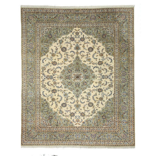 Shop Classical Kashan Medallion Hand Knotted Persian Wool: Shop Hand-knotted Wool Ivory Traditional Oriental Kashan