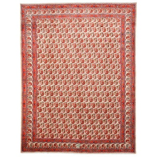 EORC Hand Knotted Wool Ivory Paisley Mood Rug (10'8 x 13'10)