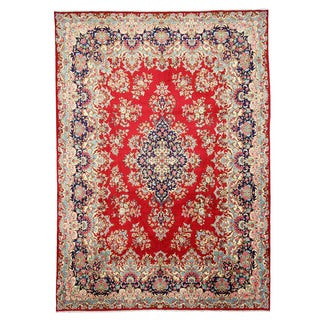 EORC Hand Knotted Wool Red Kerman Rug (10' x 13'11)