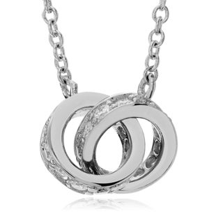 Journee Collection Sterling Silver CZ Round Pave Circle Link Necklace