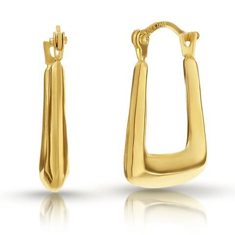 Pori Solid 10k Gold Squared Off Hoop Earrings