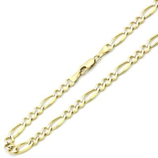 Pori 10k Gold Heavy Weight 5.5mm Figaro with White Pave Men's Chain Necklace