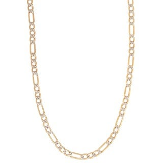 Pori 10k Gold Heavy Weight 6.5mm Figaro White Pave Men's Chain Necklace