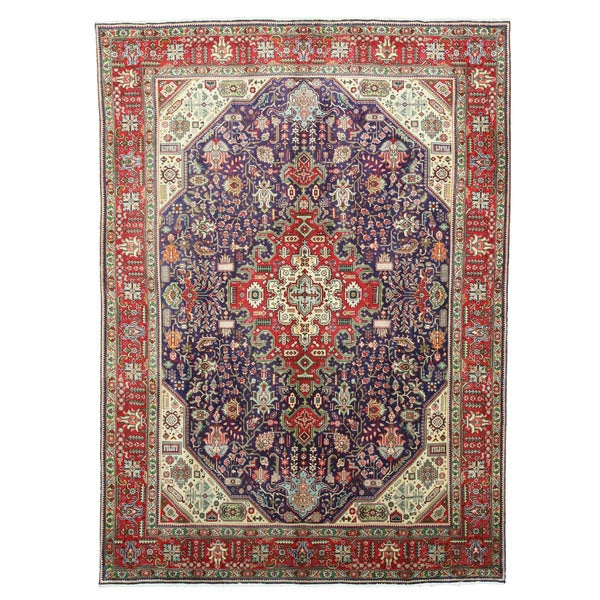 Hand Knotted Persian Tabriz Wool Area Rug Ebth: Shop Hand-knotted Wool Navy Traditional Oriental Tabriz