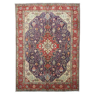 EORC Hand Knotted Wool Navy Tabriz Rug (8' x 11'2)