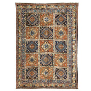 EORC Hand Knotted Wool Blue Panel Yalameh Rug (10'3 x 14')