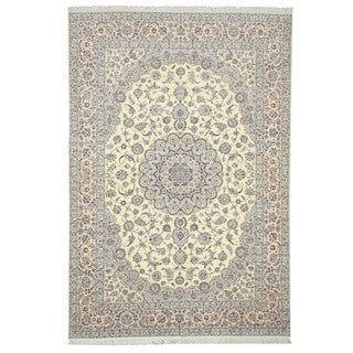EORC Hand Knotted Wool & Silk Ivory Naiin Rug (8'4 x 12'2)