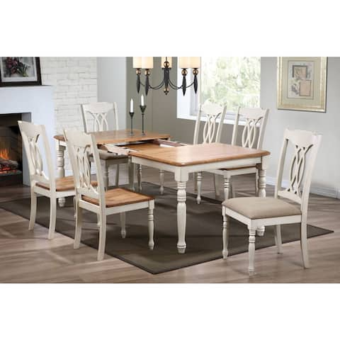 7-Piece Antique Caramel Biscotti Rectangle Traditional-back Dining Set