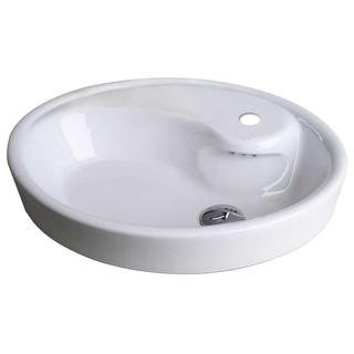 21-in. W x 18-in. D Drop In Oval Vessel In White Color For Single Hole Faucet