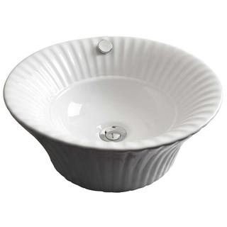 17-in. W x 17-in. D Above Counter Round Vessel In White Color For Deck Mount Faucet