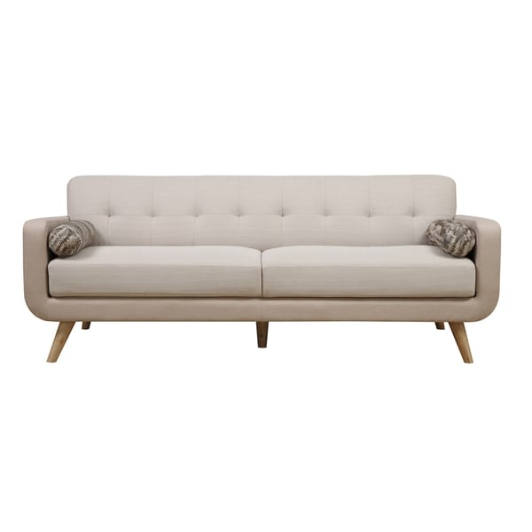 Beige mid century modern sofa free shipping today for Mid century modern sofas