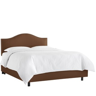 Skyline Furniture Nail Button Bed in Shantung Chocolate