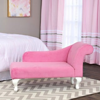 HomePop Juvenile Chaise Lounge in Pink Velvet