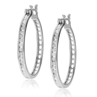 Journee Collection Sterling Silver 1/2 ct Diamond TDW Round Cut Pave Hoop Earrings