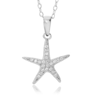 Journee Collection Sterling Silver CZ Starfish Cable Necklace