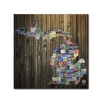 Design Turnpike 'Michigan Counties License Plate' Canvas Wall Art - Multi