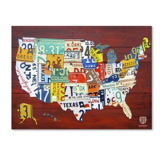 Mounted License Plate Map of the US 24 x 36inch Wood Plaque