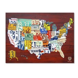 iCanvas David Bowman License Plate Map USA Canvas Art Free