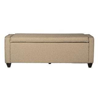 Natural Linen Flip Top Storage Bench